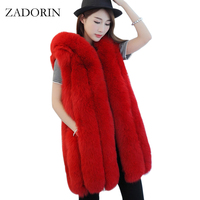Plus Size Autumn Winter Fashion Faux Fox Fur Vest With Hooded High Quality Long Waistcoat Fur