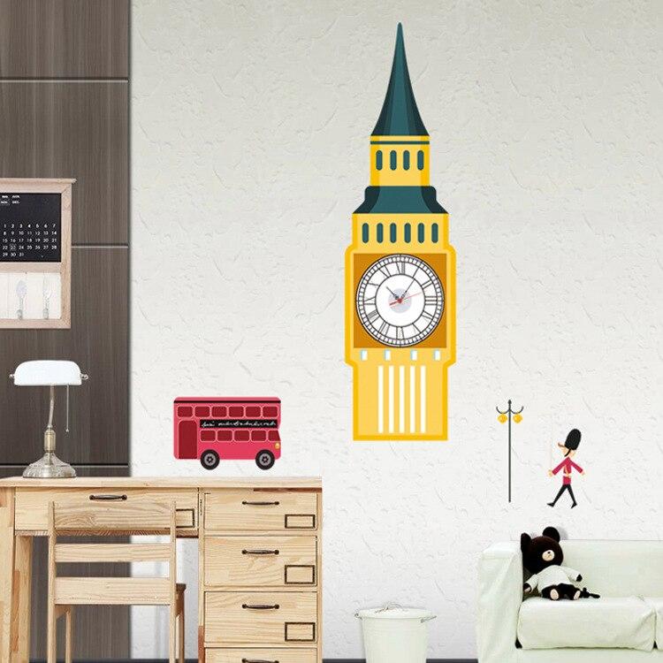 2 piece 70*158CM British Custom Clock Tower adesivo Creative Clock Oversized Wall-stickers Enter Stairs Wall Paper