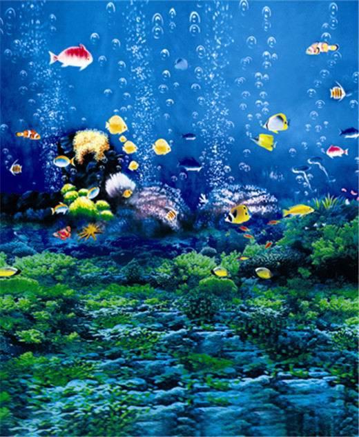 3d Aquarium Live Wallpaper: 10x10FT Aquarium Under Sea Blue Seabed Fish Bubbles Coral