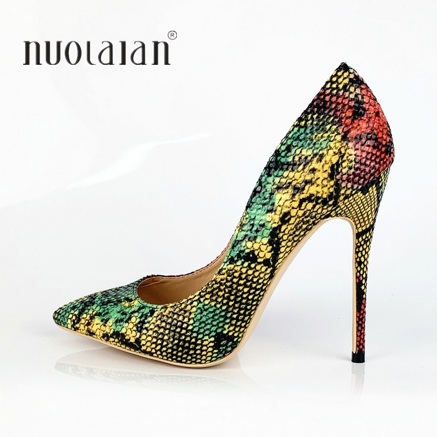 Model Style 2019 New Ladies Pumps Snake Print Combined Coloration Girls Horny Marriage ceremony Stiletto Excessive Heel Sneakers Lady Get together Gown Pumps Ladies's Pumps, Low-cost Ladies's Pumps, Model...
