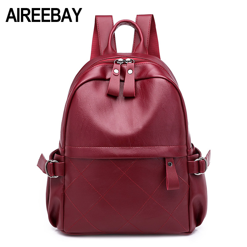 AIREEBAY 2018 New Korean Style Women Leather Backpack Designer Fashion Backpack Female Travel Bags Daily Casual Girls SchoolbagsAIREEBAY 2018 New Korean Style Women Leather Backpack Designer Fashion Backpack Female Travel Bags Daily Casual Girls Schoolbags