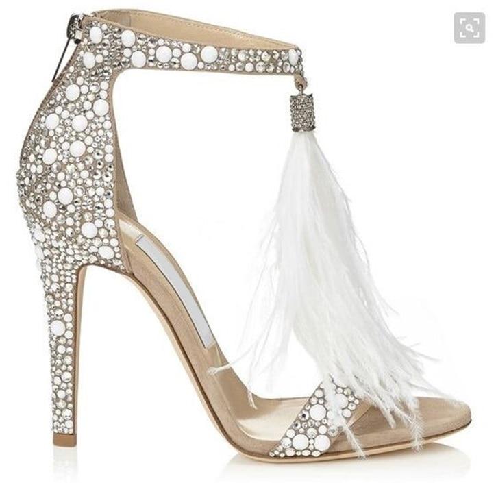Wedding High Heels Sandals: Feather Crystal Embellished High Heel Sandals Sexy Lady