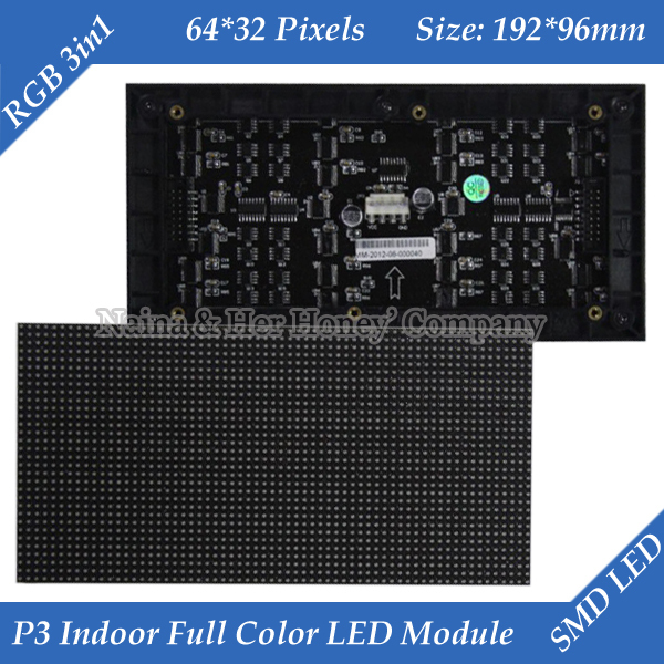 Free Shipping 1/16 Scan 3in1 RGB P3 Indoor Full Color LED Module For LED Display Screen 192*96mm 64*32 Pixels