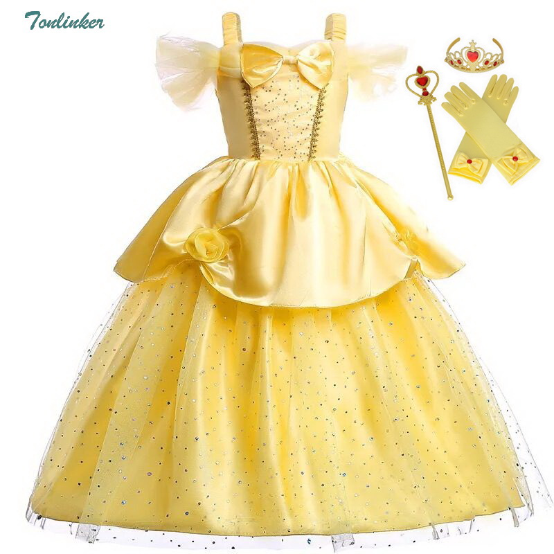 Girls Princess Fancy Dressing Up Belle Costumes Flowers Off Shoulder Dress Up Deluxe Ball Gown Dresses Kids Party Dress Vestido