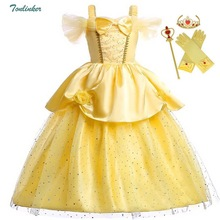 Girls Princess Fancy Dressing Up Belle Costumes Flowers Off Shoulder Dress up Deluxe Ball Gown Dresses Kids Party vestido