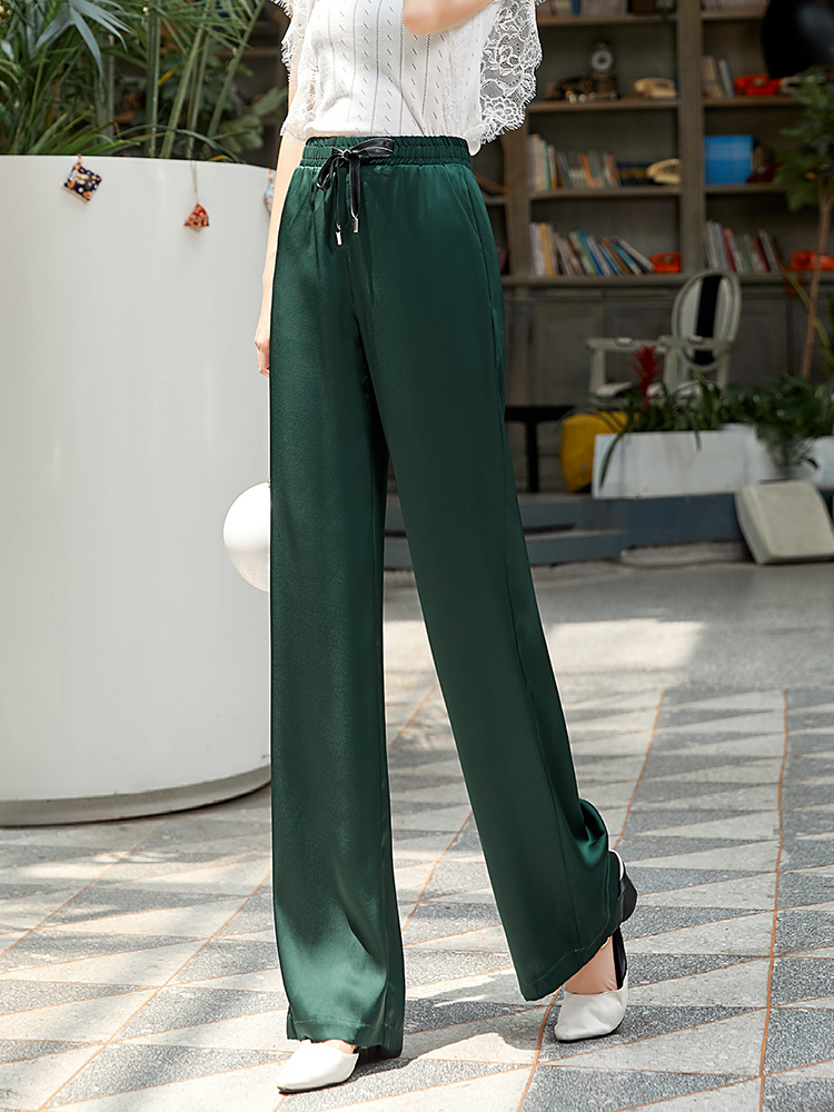 Green High Waist   Wide     Leg     Pants   Women Summer Elegant Lace Up Elastic Waist Full Length Trousers Women Plus Size Pantalon Femme