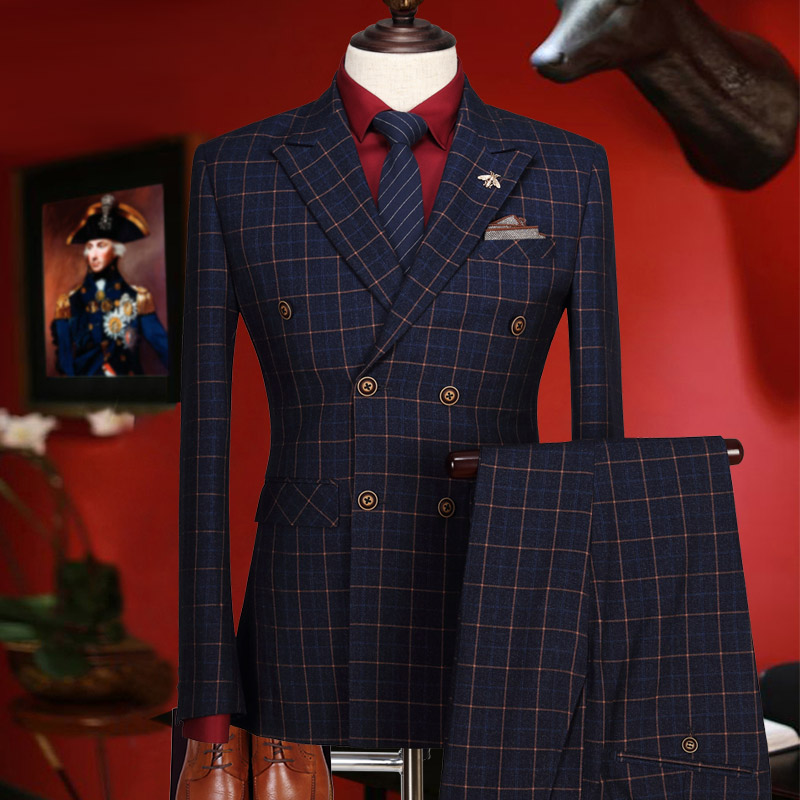 Wedding Suits For Men 2018 New Year Gifts Winter Deep Blue Plaid Double Breasted Stage Clothes Men Formal Mens Suits With Pants