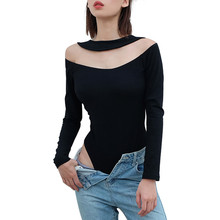 Sexy Bodysuit Jumpsuit Women O-Neck Solid Black Overalls Long Sleeve Hollow Out Skinny Body Slim femme Jumpsuit Romper Women Top caged neck skinny solid jumpsuit