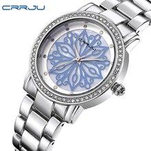 Top Brand Crrju Mujeres Relojes Relojes de Cuarzo Reloj de Señoras de Moda Casual Reloj de Pulsera de Acero Inoxidable de Plata Regalo Montre Femme