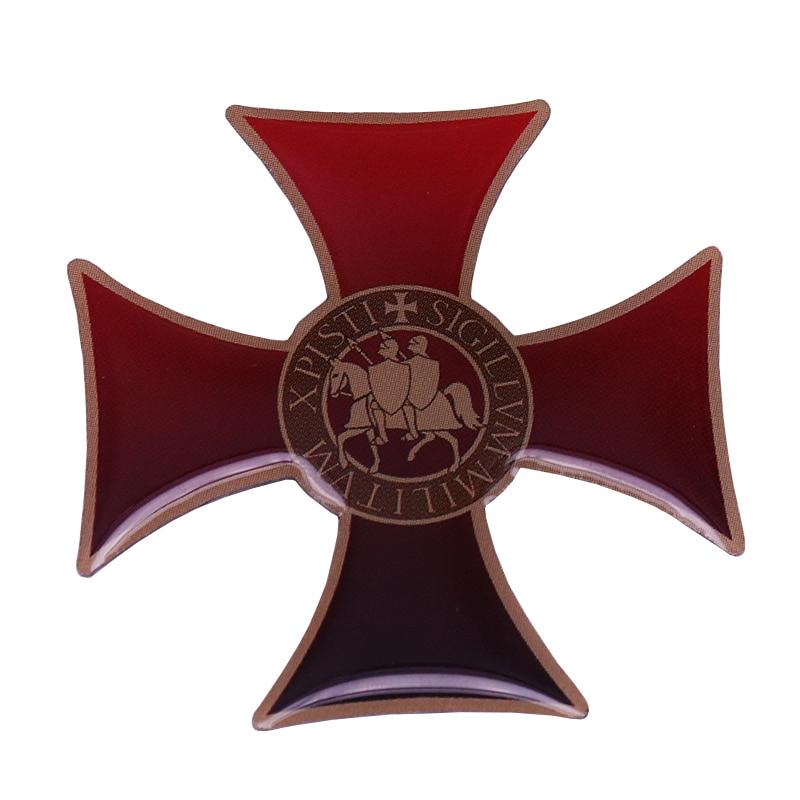 09aeb73ddea0 Knights Templar seal enamel pin Crusaders Solomons Temple badge men Masonic  gift