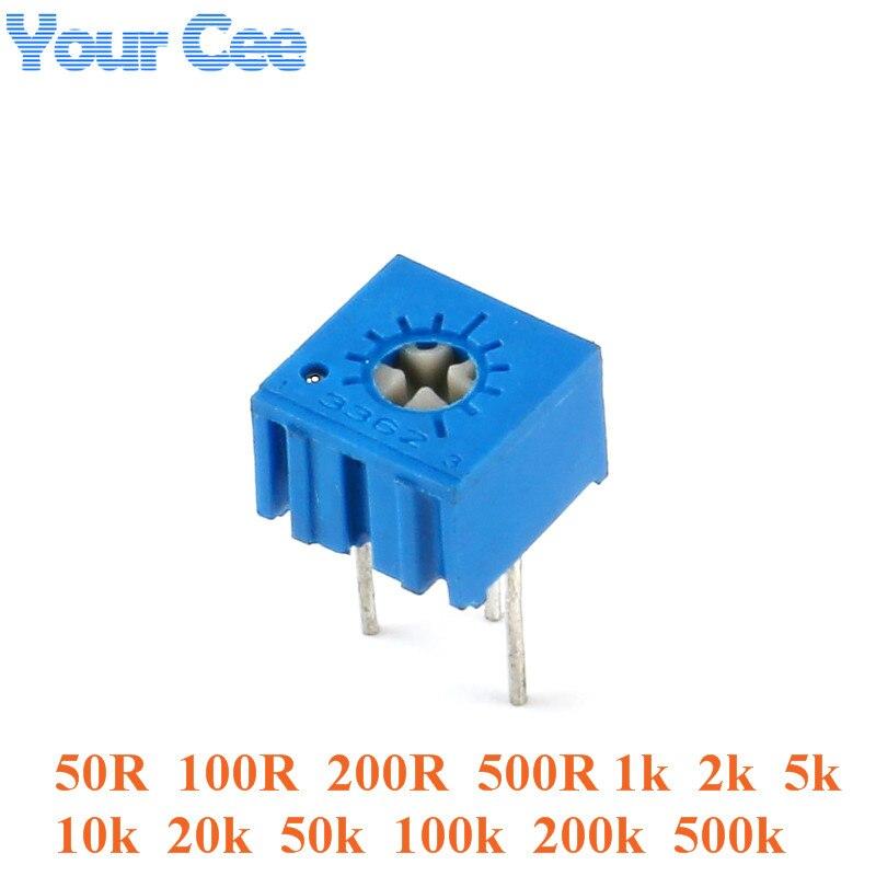10pcs 3362 Trimmer Potentiometer 3362P Variable Resistor Adjustable Resistance 101 102 103 104 201 202 203 204 501 500 502 503
