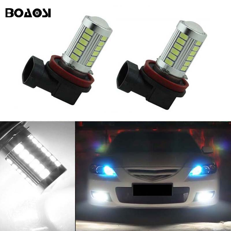 BOAOSI 2x H11 H8 LED Car Canbus Bulbs Reflector Mirror Design For Fog Lights For mazda 3 5 6 axela atenza CX-5 CX-7 boaosi 1x h11 led canbus 5630 33 smd bulbs reflector mirror design for fog lights no error for audi a3 a4 a5 s5 a6 q5 q7 tt