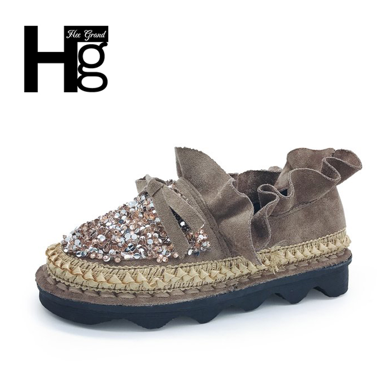 HEE GRAND Spring Crystal Unique Woman Causal Students Flock Autumn Platform Plastic Bling Bling Shoes Women Size 35-40 XWD6109