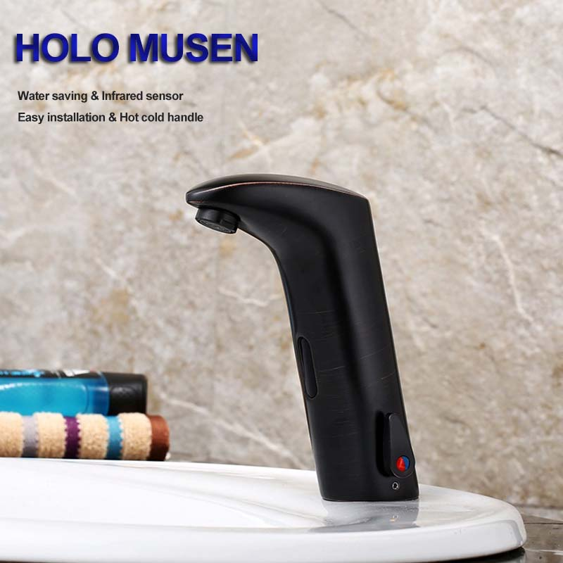Black Painting Touch Free Automatic Infrared Sensor Faucet Hot Cold Sensor Tap Bathroom Water Saving Automatic Faucet Mixer