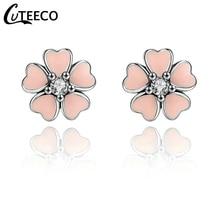 CUTEECO Simple Pink Flower Stud Earrings for Women Fits 2019 New Design Brand Brincos Enamel Fine Jewelry