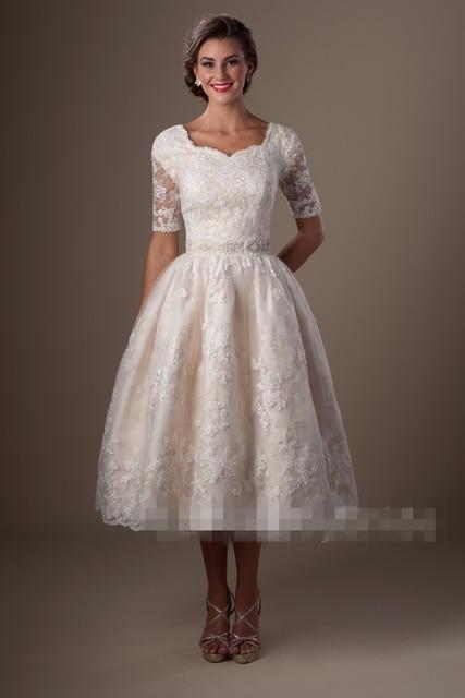 Champagne Vintage Lace Tea Length Modest Wedding Dresses With Half Sleeves  A-line Knee Length 96067e93988b