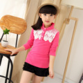 Spring Autumn All-match Long Sleeved Girls Child Korean Lace Bottoming Shirt T-shirt Princess Kids Clothing Pink Red