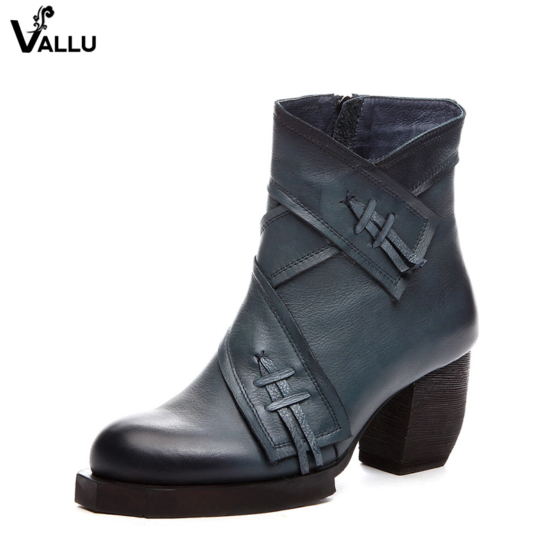 High Heel Shoes Woman VALLU Vintage Tassel Lady Short Booties Handmade Genuine Leather Female Ankle Boots