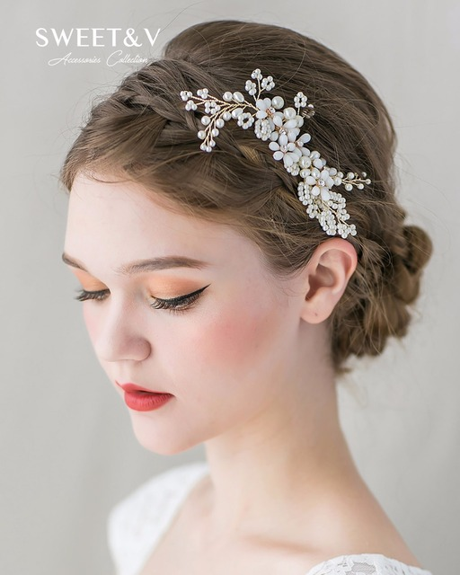 Light Gold Bridal Hair Comb Clip Pins Beaded Pearl Combs