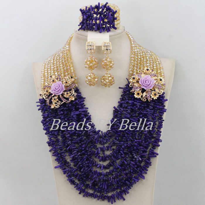 New Design Purple Coral Beads African Wedding Beads Jewelry Set Nigerian Women Bridal Lace Jewlery Crystal Free Shipping ABF476New Design Purple Coral Beads African Wedding Beads Jewelry Set Nigerian Women Bridal Lace Jewlery Crystal Free Shipping ABF476