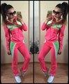 2016 Marca Treino Mulheres Terno Camisola Do Hoodie + Pant ternos para mulheres Sportswear 2 pc Set