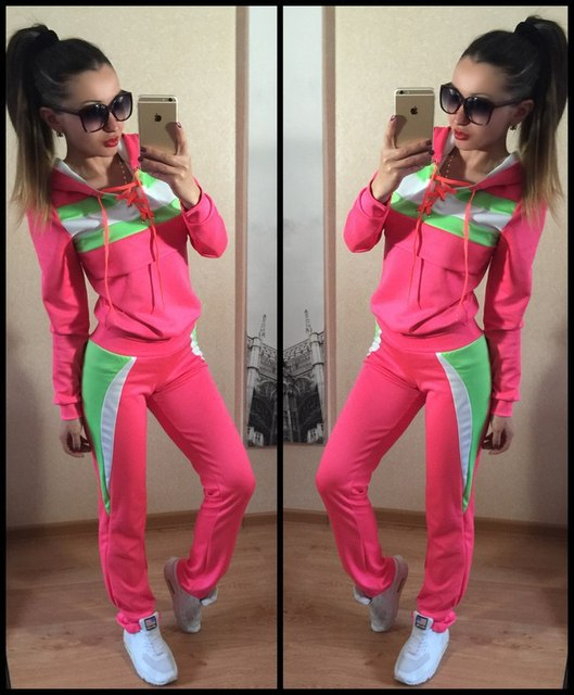 2017 Brand Tracksuit Women Suit Hoodie Sweatshirt+Pant suits for women Sportswear 2pc Set