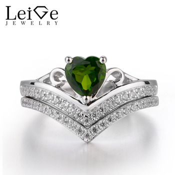 Leige Jewelry Chrome Diopside Ring Heart Cut Gemstone Engagement Wedding Rings for Her Fine  Romantic Jewelry Valentine Gifts