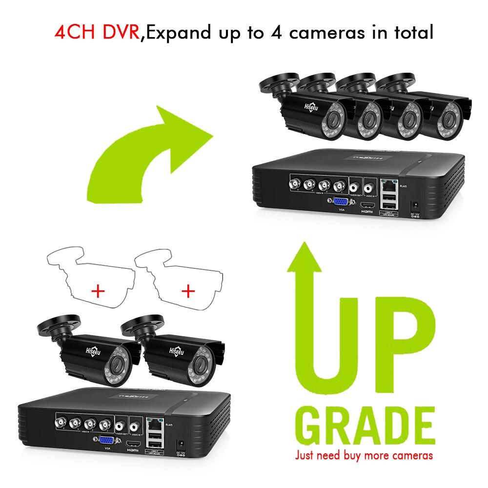 Hiseeu HD 4CH 1080N 5in1 AHD DVR Kit système cctv 2 pièces 720 P/1080 P AHD étanche/caméra vidéo 2MP P2P Surveillance de Sécurité Ensemble - 2