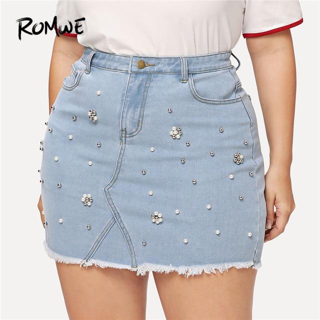aa64187bcc6 ROMWE Plus Size Jeans Skirts Womens Summer High Waist Mini Skirts Casual  Women Blue Jean Skirt Faux Pearl Beaded Hem Denim Skirt