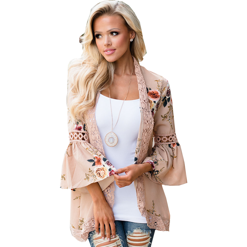 Women Coat 2019 Trumpet Sleeve Flower Print Hot Autumn And Spring Thin Lace Stitching Jacket Womens Jackets Vestidos Oym0542 In Pain Jackets & Coats