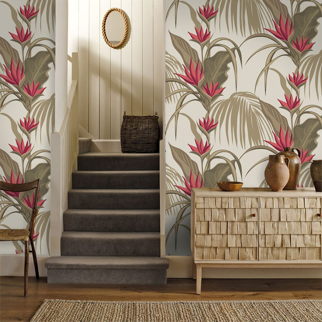 Tuya Art wall covering vintage cream & red floral art classic design ...