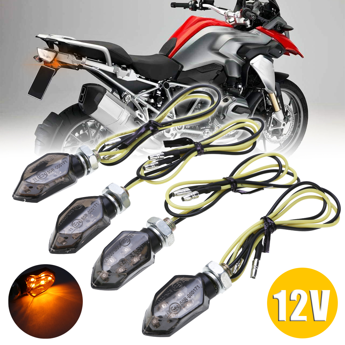 For Suzuki For Kawasaki 4PCS Mini Motorcycle Smoke Lens Turn Signal Light 5LED 12V Amber Blinker Indicator Lamp Two Wire Mayitr