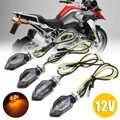 Pour Suzuki pour Kawasaki 4 pièces Mini moto fumée lentille clignotant lumière 5LED 12V ambre clignotant indicateur lampe deux fils Mayitr