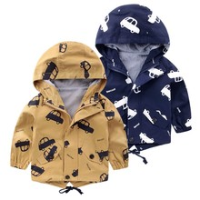 2017 Spring Jacket Boys Girls Kids Outerwear Cute Car Windbreaker Coats Fashion Print Canvas Baby Children Clothing недорого