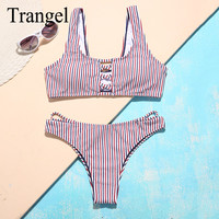 Trangel Women Bandeau Bikini Set Vintage Striped Swimwear Sexy Bandage Swimsuit Low Waist Bathing Suit Push