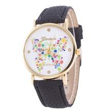 New Quartz Watch Women Ladies Butterfly Pattern Dial Wristwatch Women's Leather Bracelet Watches Relojes Mujer Wholesale 2017