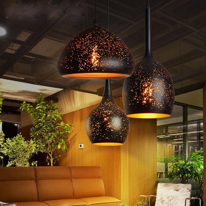 vintage pendant lights iron loft porous retro e27 etching lampshade industrial hang lamp nordic light fixtures dining room licht|Pendant Lights| |  - title=