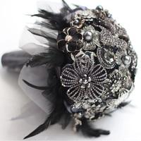 8 inch custom bridal bouquet,Gothic style black feather brooch bouquet, black and white wedding bouquet gem