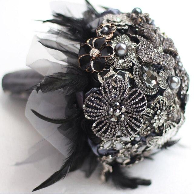 8 인치 사용자 정의 신부 꽃다발, 고딕 블랙 깃털 브로치 꽃다발, 흑백 결혼식 꽃다발 보석