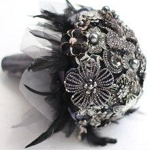 Ramo de novia personalizado de 8 pulgadas, ramo de broche de pluma negra de estilo gótico, Gema de ramo de boda en blanco y negro