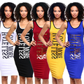 2016 Summer Women Dress Fashion Sleeveless Slim O-neck  Letter Printing  Pencil Casual Tank Dress Size S M L XL Vestidos