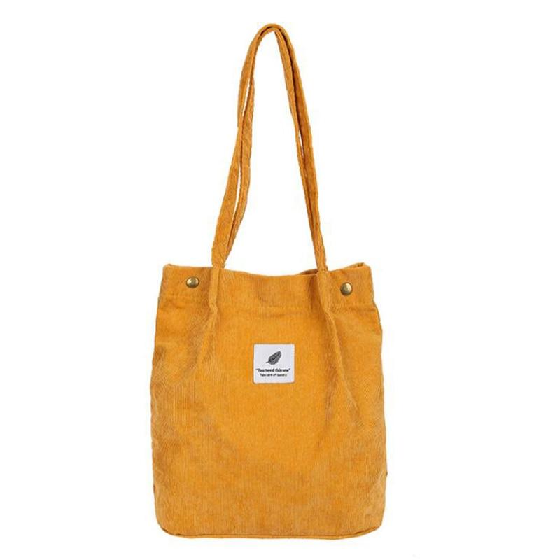 High Capacity Women Corduroy Tote Ladies Casual Shoulder Bag Foldable Reusable Shopping Beach Bag