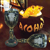 1Pc 3D Ox Head Goblet Resin Stainless Steel Red Wine Cup Glasses Glass Steins Halloween Party