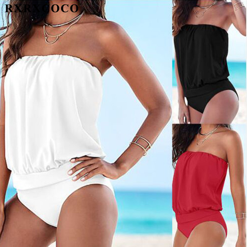 RXRXCOCO Sexy Backless Swimsuit Women Solid Two Pieces Swimwear Halter Bandage Bathing Suit Female Summer Swimmiing Suit Tankini