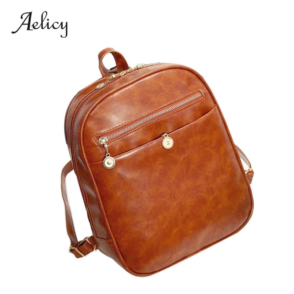 Aelicy Womens Leather Travel Satchel Fashion Shoulder Bag Backpack School Rucksack Solid Backpack PU backpack Women Bag 0904