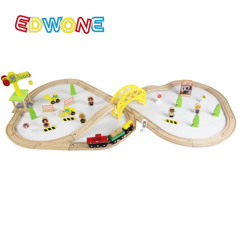 70PCS Train Set ELC Train Construction Site Beech Wooden Railway Track EDWONE Thomas and Brio Gifts Kids-EDWONE