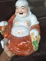 Antique Republic of Chinese porcelain statue,Pastry laughing Buddha sculpture #7,painted crafts,Decoration,Collection&Adornment