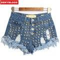 2016 Женская Европейская Мода Высокой Талией Ripped Шипованных Raw Denim Шорты Бурлящие Штаны Американский Стиль Шорты Size32-42 SL019