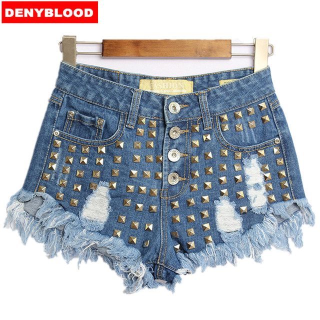 dabc99db9e2 2016 Womens European Fashion High Waisted Ripped Studded Denim Raw Shorts  Hotpants American Style Shorts Size32