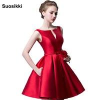 Suosikki 2016 Nouvelle mode fuchsia robe de noiva conception courte Champange couleur dentelle up de mariée partie robe de cocktail